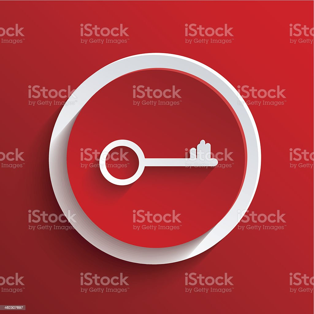 Vector red circle icon with a white key inside royalty-free stock vector art
