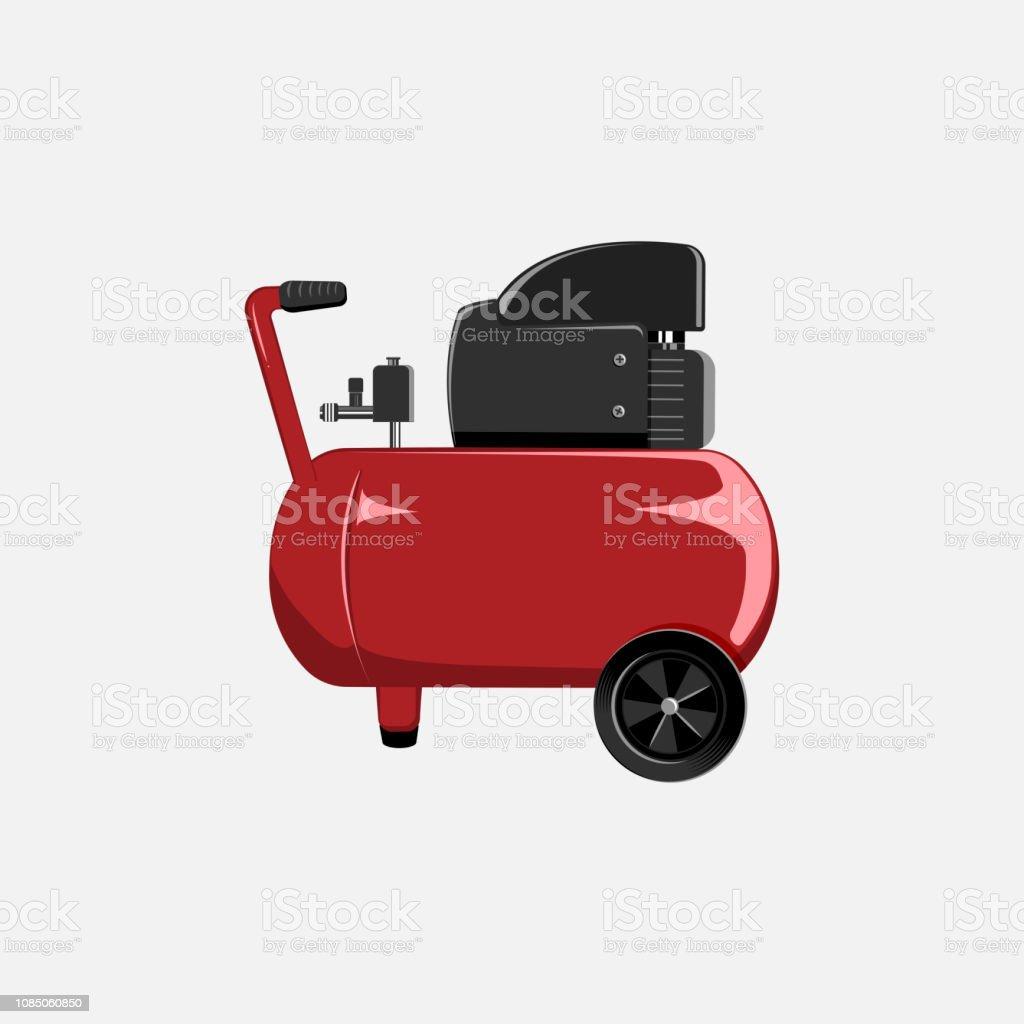 Vector red compressor for car painting and inflating of wheels. Tool for car service center. vector art illustration