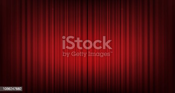 istock Vector red curtain background,modern style. 1056247682