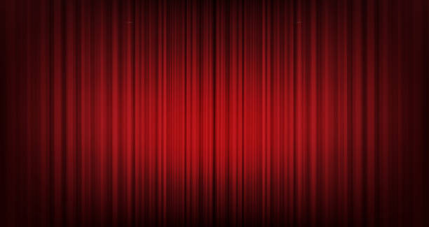 벡터 빨간 커튼 배경, 현대적인 스타일입니다. - 무대 극장 stock illustrations