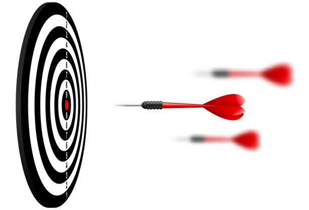 Vector red dart arrows flying to target dartboard. Metaphor to target success, winner concept. Isolated on white background Vector red dart arrows flying to target dartboard. Metaphor to target success, winner concept. Isolated on white background dart stock illustrations