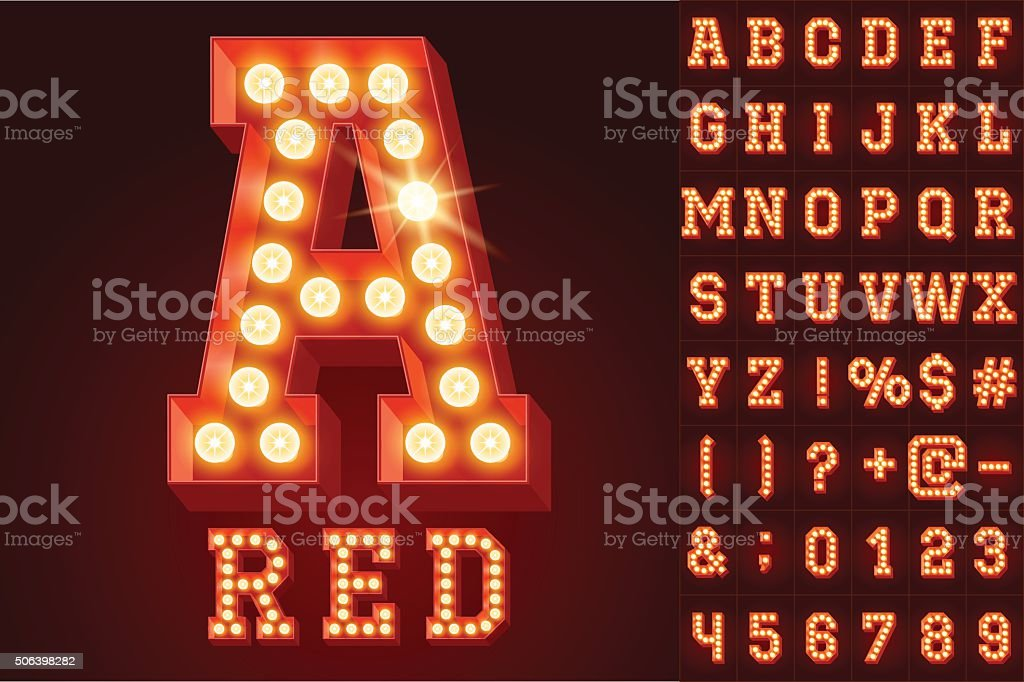 Vector red electric light up lamp alphabet in hard font vector art illustration
