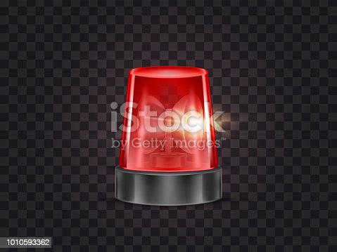 Vector illustration of red flasher, flashing beacon with siren for police and ambulance cars, isolated on transparent background. Glowing rotating lamp, emergency signal of danger, alarm strobe light