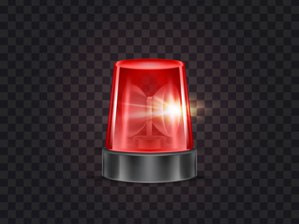 Vector red emergency flashing beacon with siren Vector illustration of red flasher, flashing beacon with siren for police and ambulance cars, isolated on transparent background. Glowing rotating lamp, emergency signal of danger, alarm strobe light disco lights stock illustrations