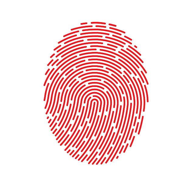 ilustrações, clipart, desenhos animados e ícones de vermelho vetor impressão digital - roubo de identidade