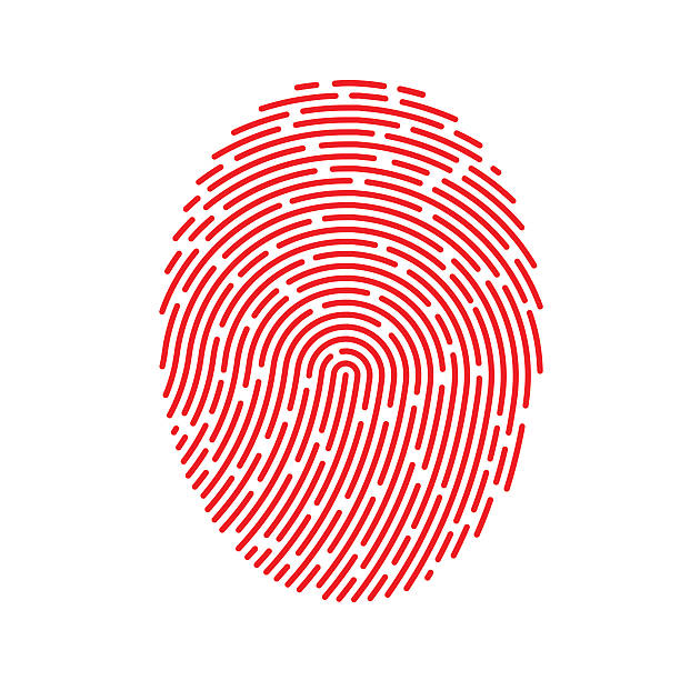 vector red fingerprint - identity theft stock illustrations, clip art, cartoons, & icons