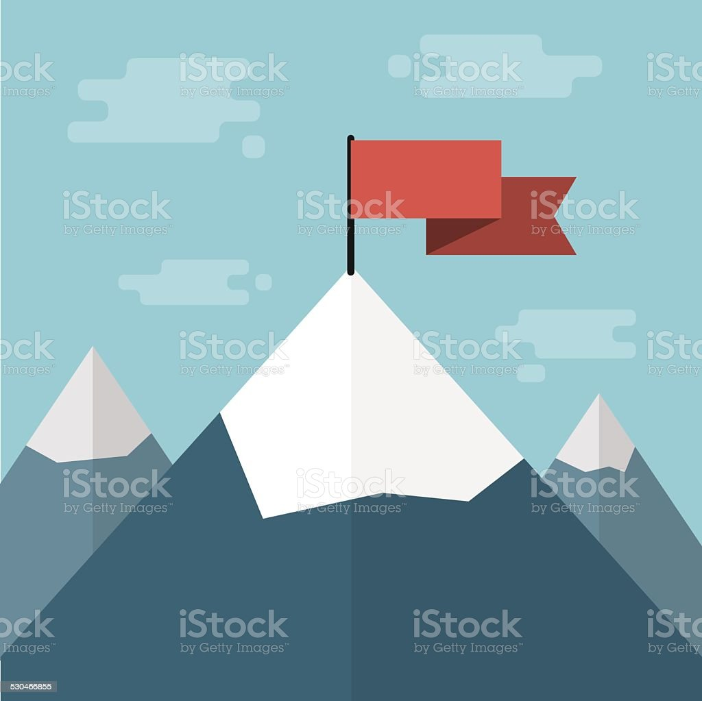 vector red flag on mountain top vector art illustration