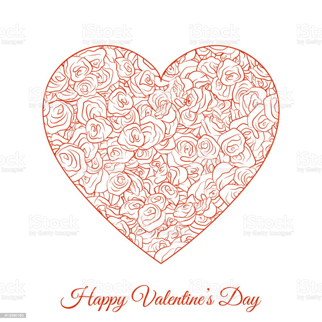 Vector Red Floral Heart. Happy Valentines Day Holiday vector art illustration
