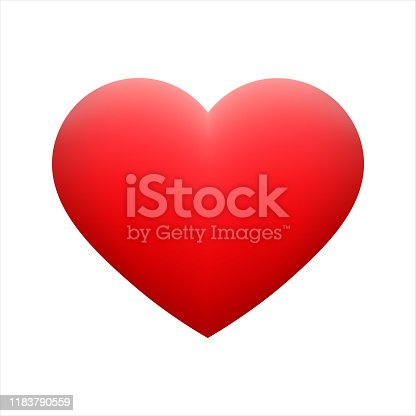 Vector red heart shape emoticon on white background. Glossy funny cartoon Emoji icon. 3D illustration for chat or message. Valentine Day card