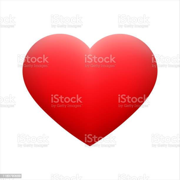 Vector Red Heart Shape Emoticon On Background - Arte vetorial de stock e mais imagens de Amarelo