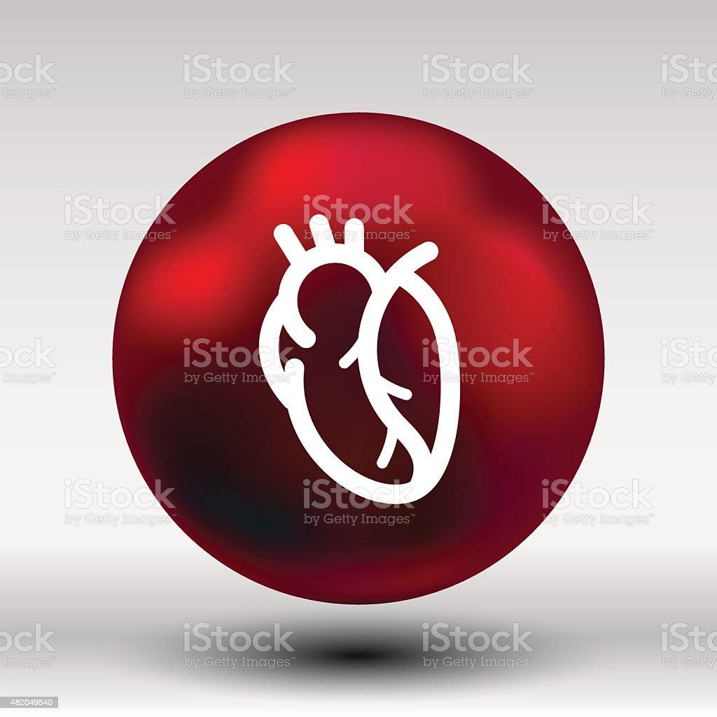 Vector Red Human Heart Icon Cardio Cardiovascular Stock