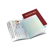 Vector red international passport template with sample personal womans data page