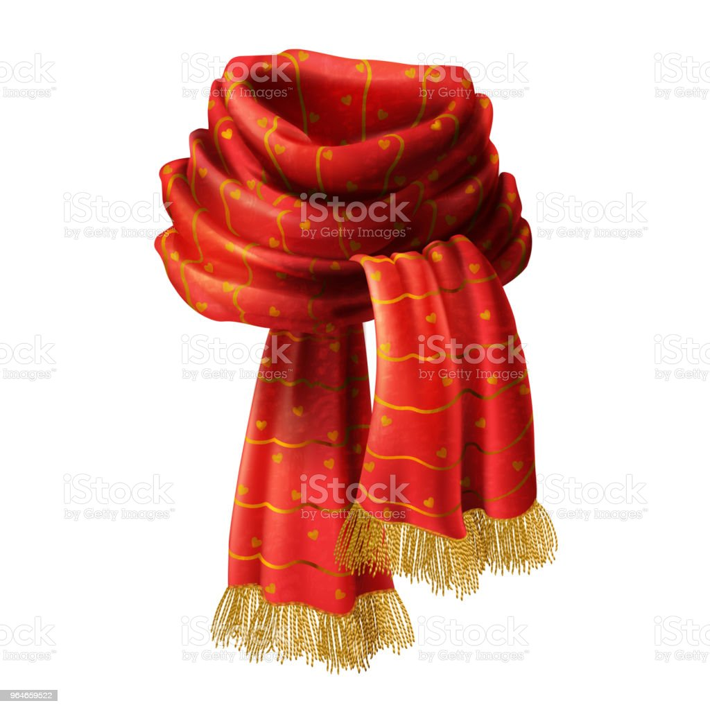 Vector red knitted scarf with decorative pattern royalty-free vector red knitted scarf with decorative pattern stock illustration - download image now