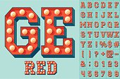 Vector red light up colorful flat lamp alphabet