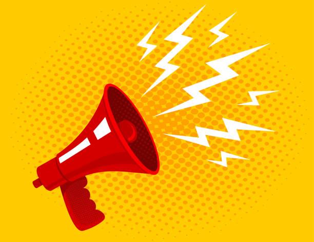 illustrations, cliparts, dessins animés et icônes de mégaphone vecteur rouge. - megaphone