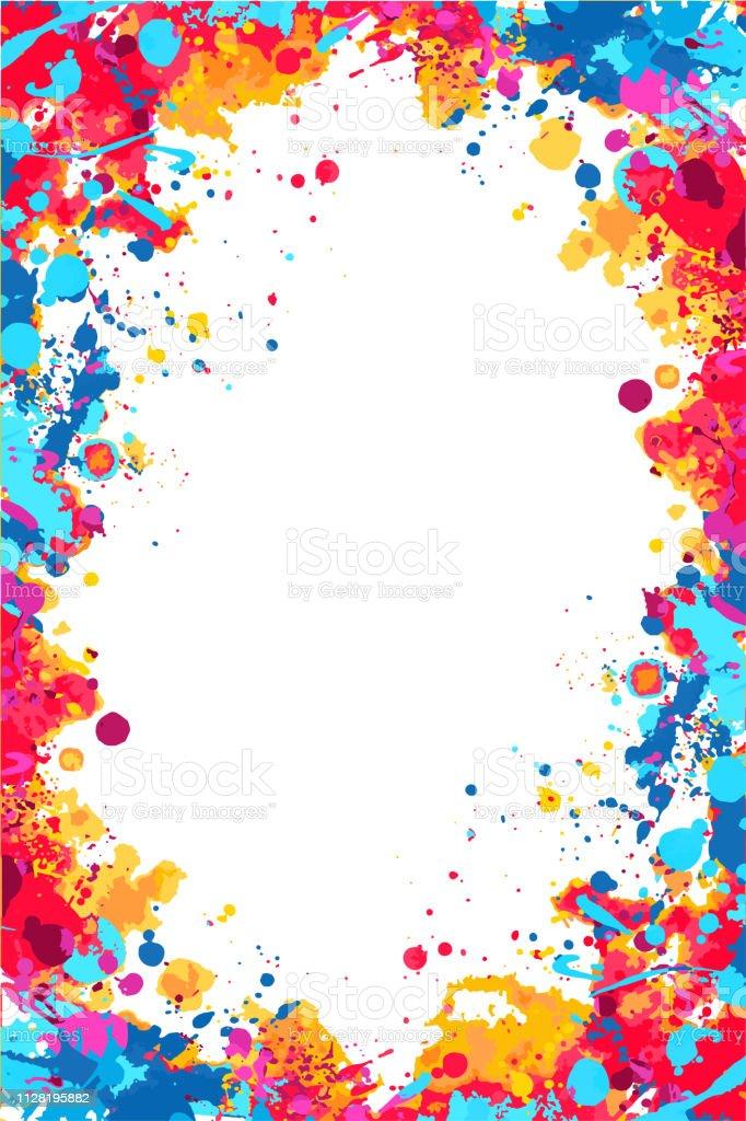 Vector red, orange and blue splattered frame vector red orange and blue splattered frame - immagini vettoriali stock e altre immagini di accarezzare royalty-free
