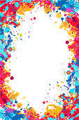 Vector bright colorful ed, orange and blue splattered frame for flyers, posters, invitations