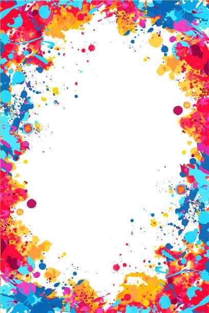 Vector red, orange and blue splattered frame Vector bright colorful ed, orange and blue splattered frame for flyers, posters, invitations splattered stock illustrations