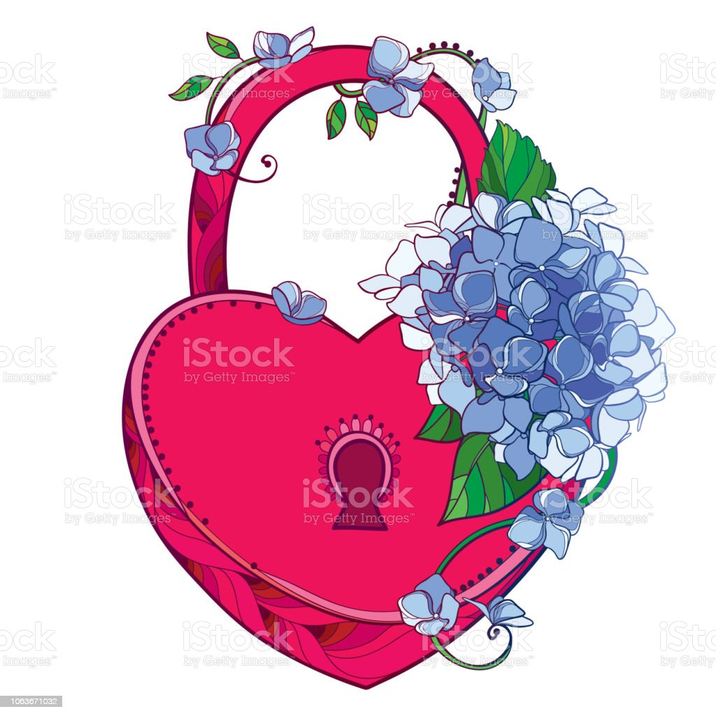 Coeur Rouge Cadenas Vector Avec Bouquet De Contour Hortensia Ou