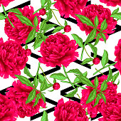 Vector red peony floral botanical flowers. Wild spring leaf wildflower isolated. Engraved ink art. Seamless background pattern. Fabric wallpaper print texture.