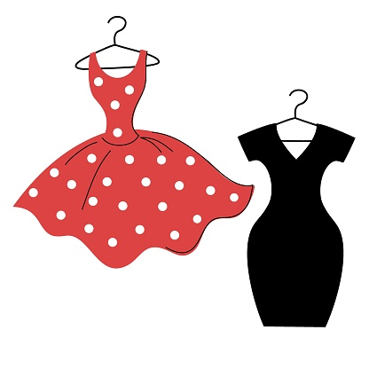 vector red polka dot dress and little black dress