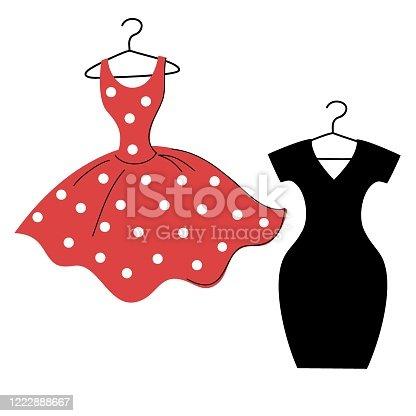 istock vector red polka dot dress and little black dress 1222888667