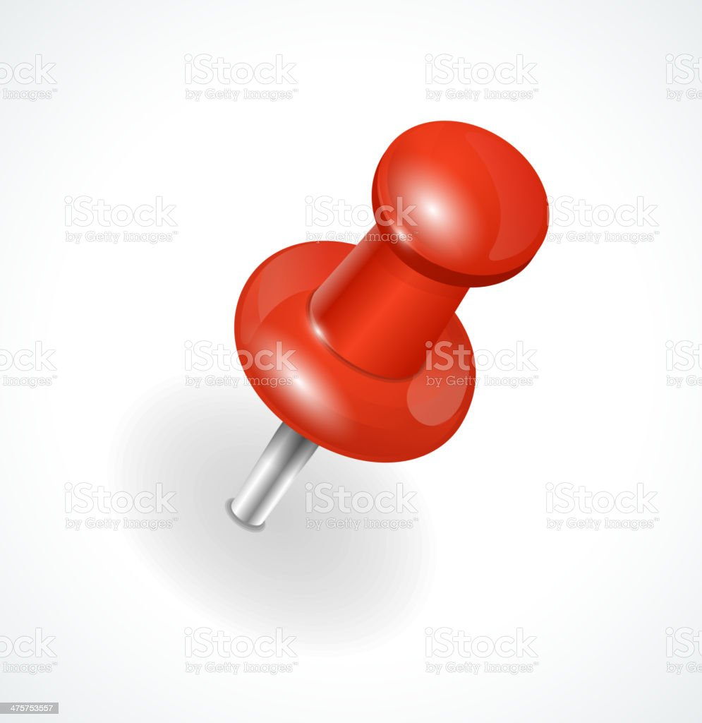 Vector red pushpin on white background vector art illustration