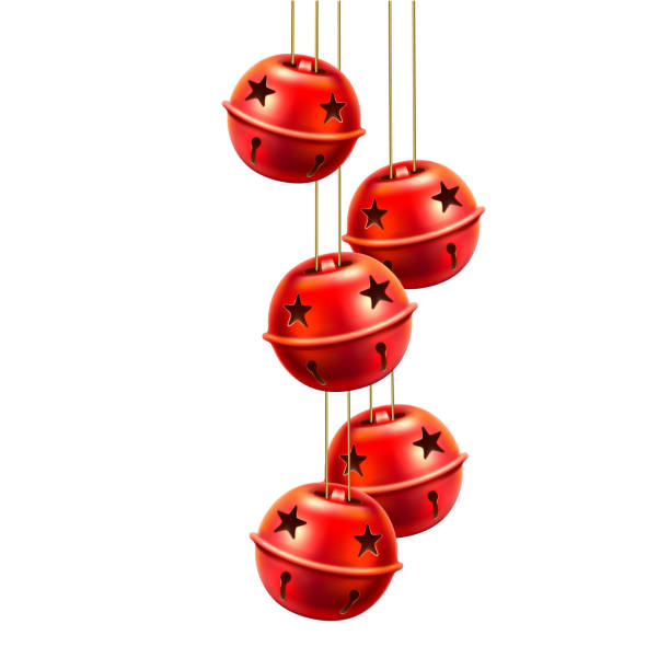 Vector red realistic jingle bells toys handing Vector jingle bells handing. Realistic traditional christmas tree toy, xmas and new year holiday decoration for greeting cards, posters banners design. Isolated illustration bell stock illustrations