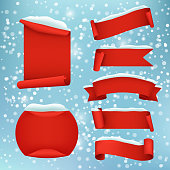 Vector red realistic winter banner set