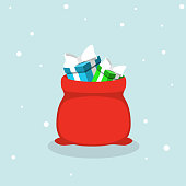 Vector red Santa Claus bag with gifts on blue background. Flat style. Happy New Year