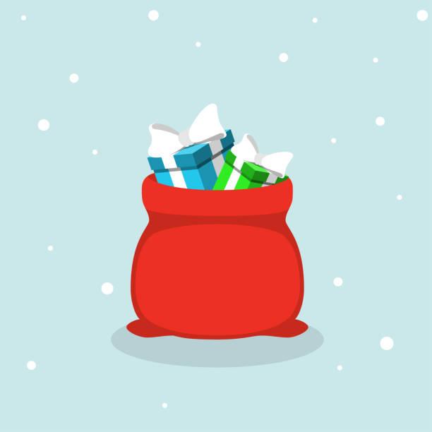 stockillustraties, clipart, cartoons en iconen met vector rode santa claus tas met geschenken - zak tas