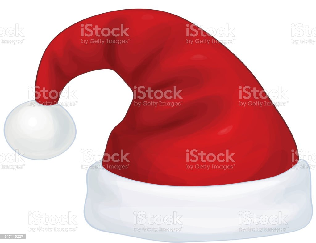 Vector red Santa Claus hat isolated. vector art illustration