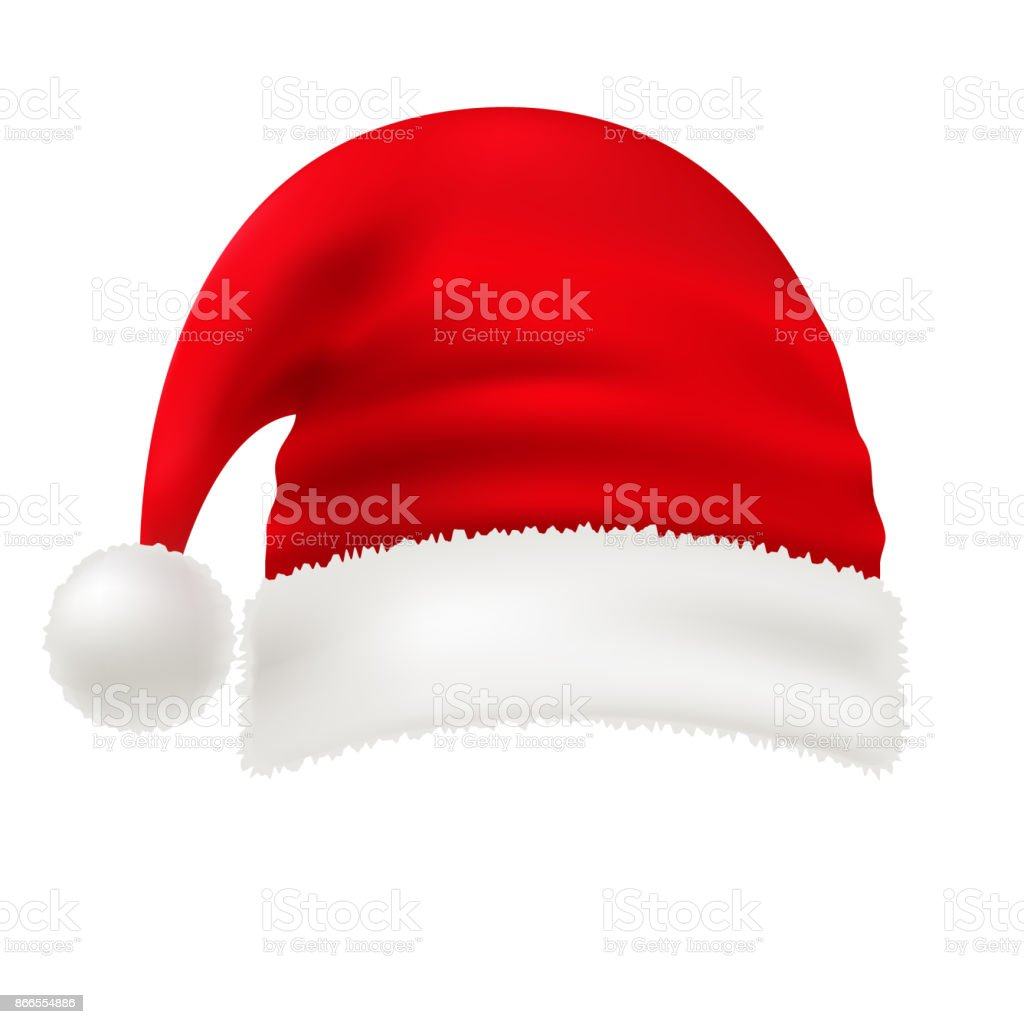 Transparent Christmas Hat.Vector Red Santa Hat Isolated On White Transparent