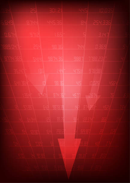 Vector : Red stock market with decreasing arrow on red background vector art illustration