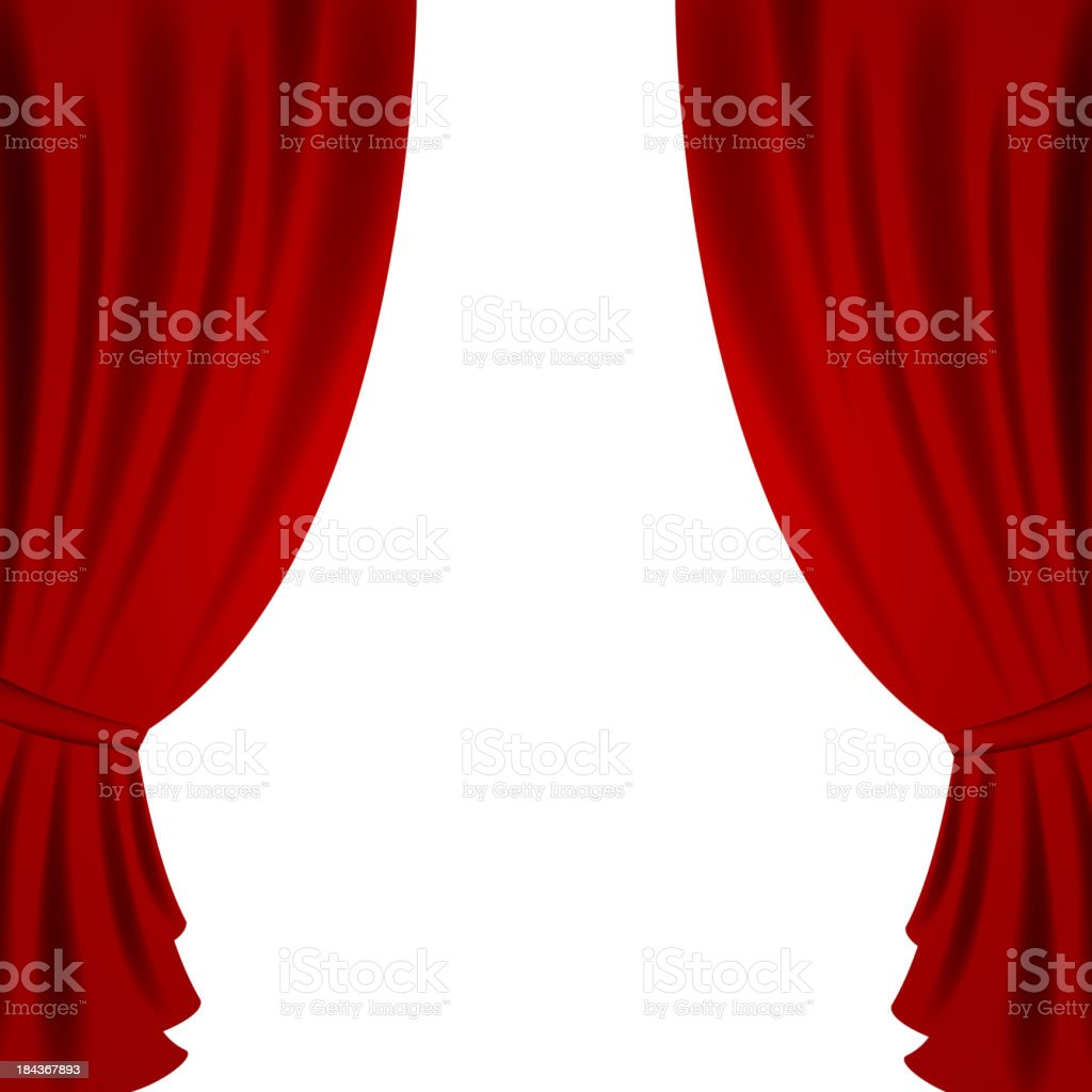 Vector Red Theater Curtain vector art illustration