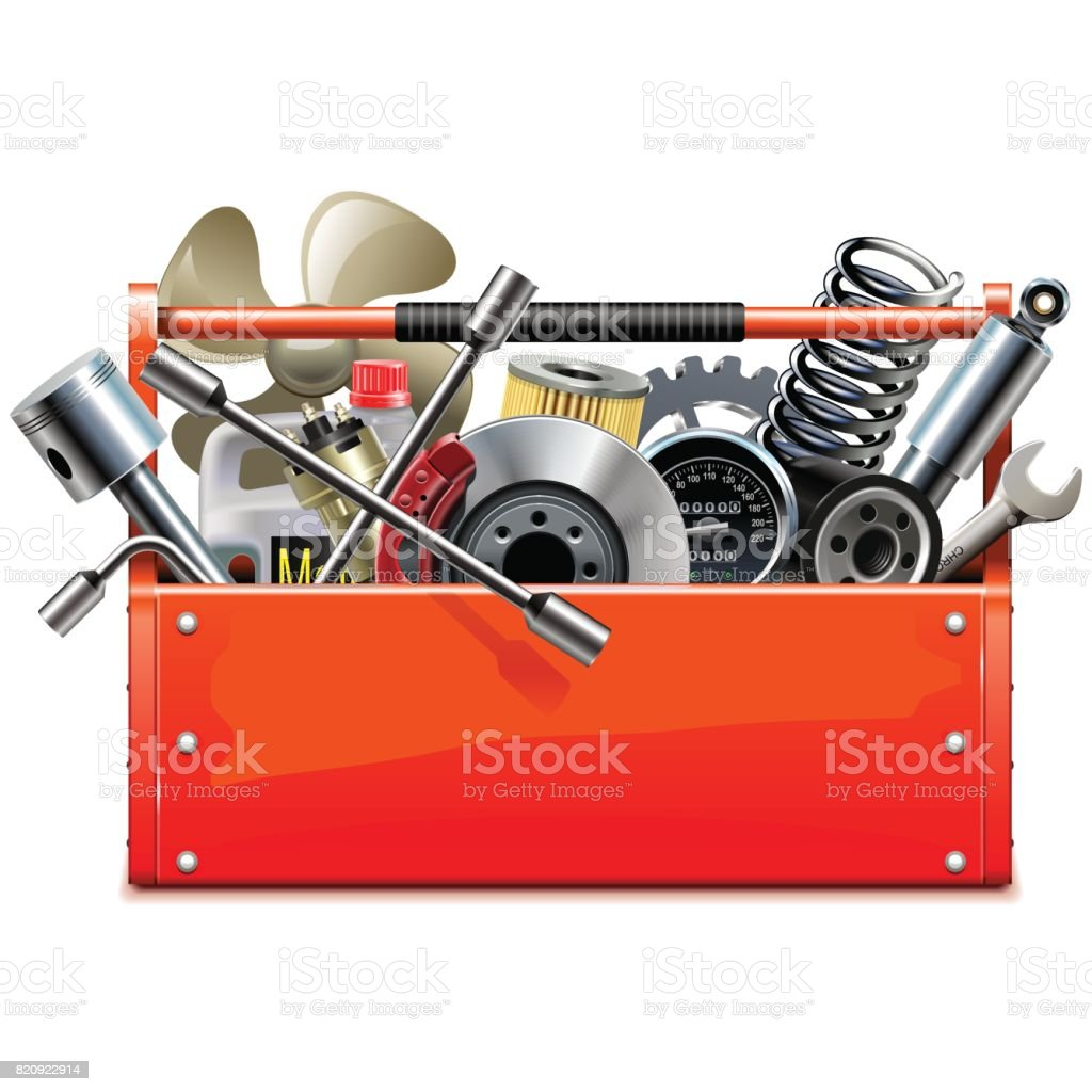 Vector Red Toolbox with Car Parts vector art illustration