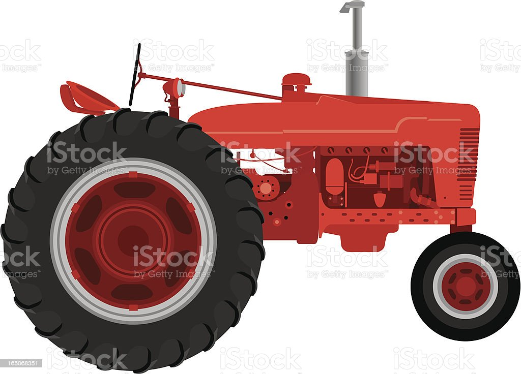 Vector Red Tractor royalty-free stock vector art