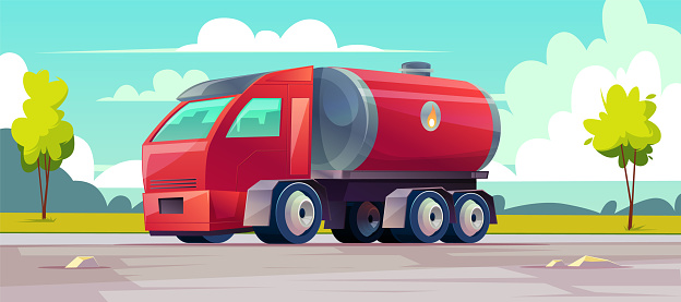 Vector red truck with gasoline in tank