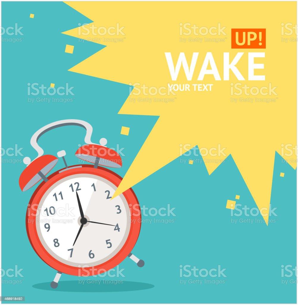 Vector red wakeup clock card. Flat Design vector art illustration