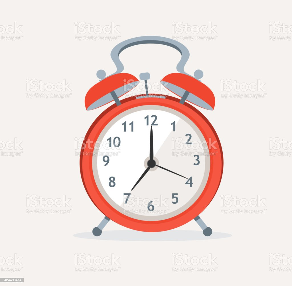 Vector red wakeup clock. Flat Design vector art illustration