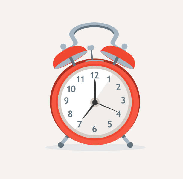 Vector red wakeup clock. Flat Design vector art illustration