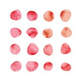 Vector red watercolor spots. Stained petals. Hand painted circles collection.
