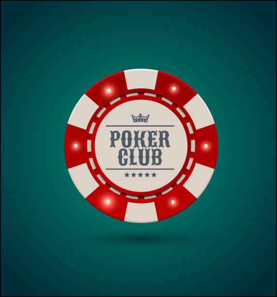 Vector red white casino poker chip with luminous light elements. Blue green background. Poker club text, blackjack or online casino banner, eps 10 Vector red white casino poker chip with luminous light elements gambling chip stock illustrations