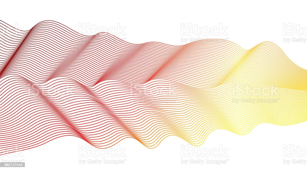 Vector red, yellow waving pleated ribbon on white background. Vibrant colored waving lines. Abstract futuristic line art design element. Flowing energetic waveform, scarf imitation. EPS10 illustration vector art illustration
