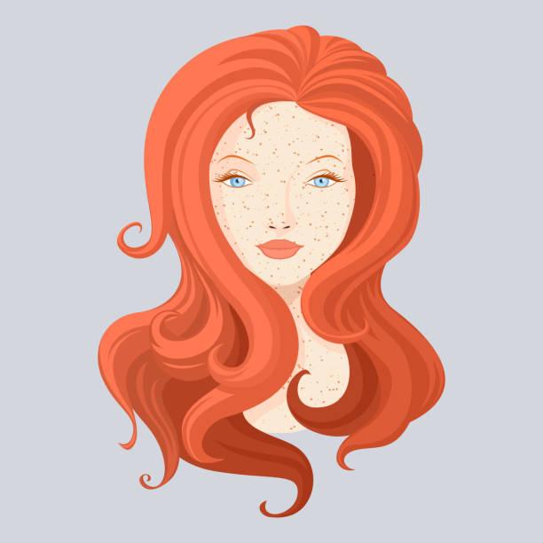 illustrations, cliparts, dessins animés et icônes de rousse de vecteur belle fille avec les cheveux longs - femme tache de rousseur