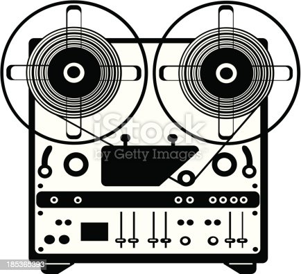 istock vector reel tape recorder on white background 185365393