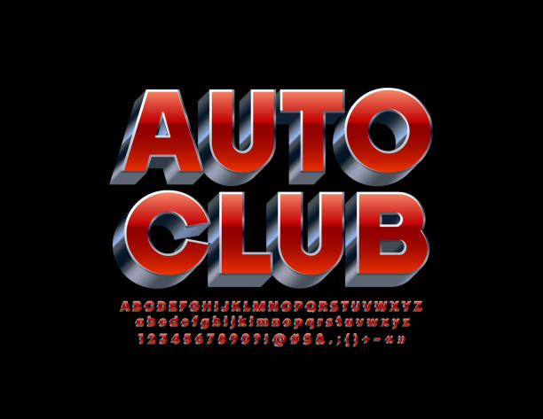 vector reflective stylish sign auto club. red and silver bright 3d font - отвести взгляд stock illustrations