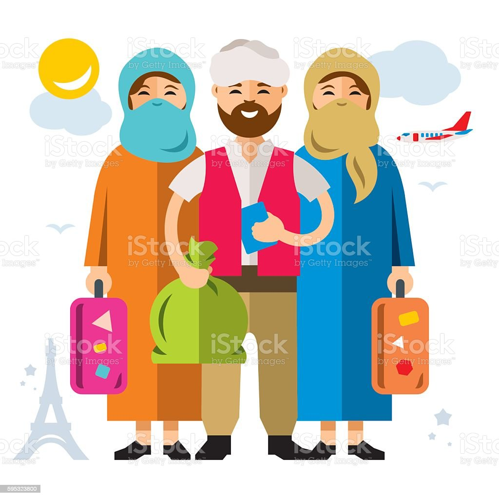 Vector Refugee migrants family. Illegal migration. Flat style colorful Cartoon vector art illustration