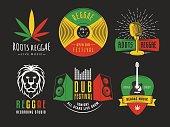 Vector reggae icons.