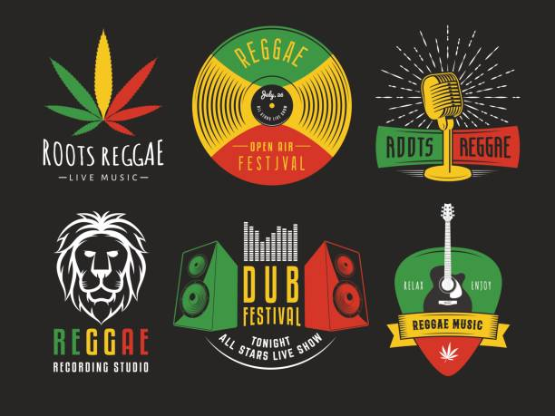Vector reggae icons. Reggae icons. Vector badges for reggae festival, radio station or rastafarian bar. Vintage music labels with marijuana leaf, vinyl disc, microphone, guitar, lion and speakers. rastafarian stock illustrations
